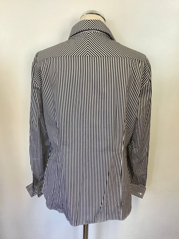 BRAND NEW T.M LEWIN BLACK & WHITE STRIPED COTTON FITTED DOUBLE CUFF SHIRT SIZE 18