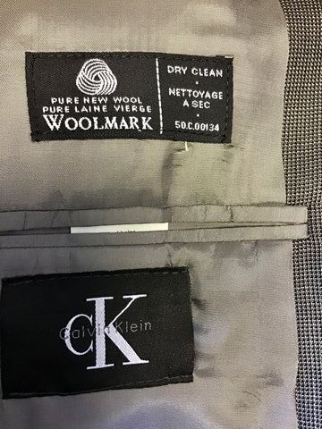 BRAND NEW CALVIN KLEIN BLACK & GREY WEAVE 100% WOOL SUIT SIZE 44R/ 36W/ 32L