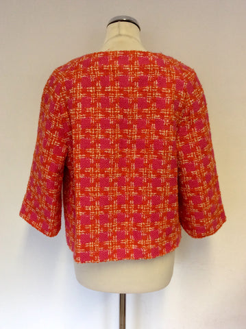 BODEN PINK,ORANGE & WHITE WEAVE WOOL BLEND BOX JACKET SIZE 14