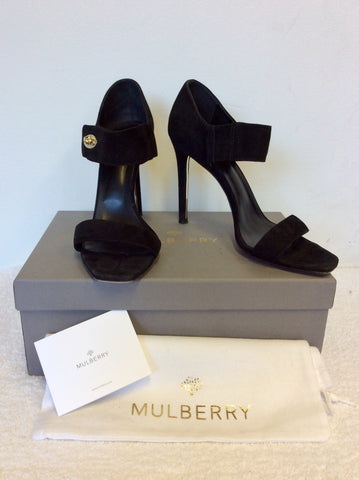 MULBERRY BLACK SUEDE WILLOW HIGH HEEL SANDALS SIZE 7/40