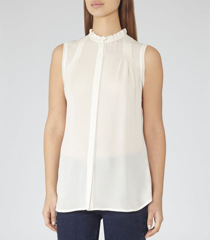 BRAND NEW REISS SIAN IVORY SILK SLEEVELESS BLOUSE SIZE 8