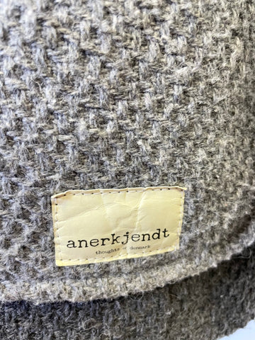 ANERKJENT GREY WOOL BLEND WOVEN CASUAL JACKET SIZE M