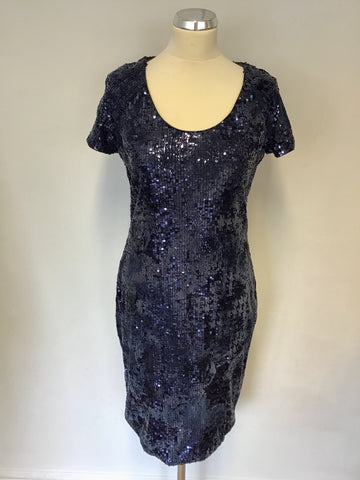 BAND NEW DAMSEL IN A DRESS NAVY BLUE SEQUINNED & CHENILE PRINT PENCIL DRESS SIZE 12