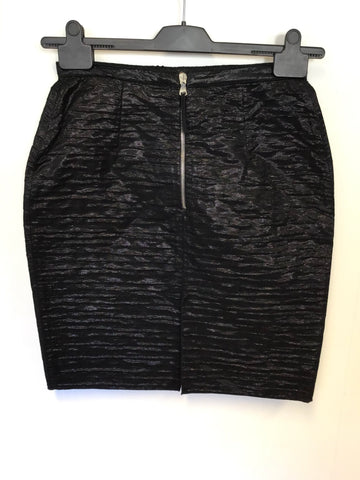 BRAND NEW DOLCE & GABBANA BLACK CRINKLE STYLE WITH SHIMMER MINI SKIRT SIZE 40 UK 10