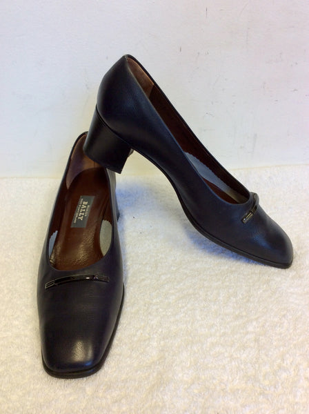 BALLY DARK BLUE LEATHER COURT SHOES SIZE 6.5/40