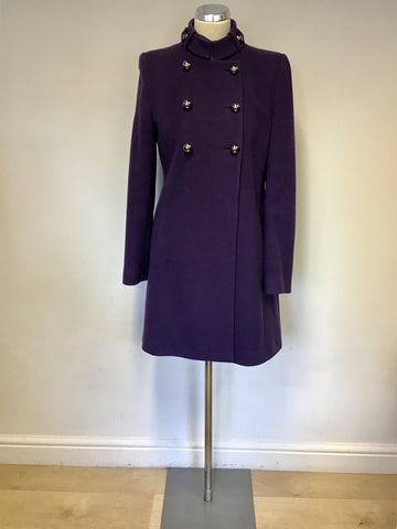 HOBBS PURPLE MILITARY STYLE DOUBLE BREASTED COAT SIZE 12