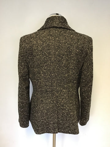 JAEGER BLACK & BROWN HERRINGBONE WOOL & CASHMERE JACKET SIZE 12