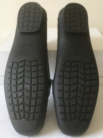 BRAND NEW GEOX RESPIRA BLACK PATENT CROC DESIGN LEATHER SLIP ON LOAFERS SIZE 7/40