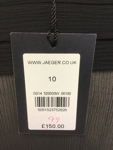 BRAND NEW JAEGER BLACK SILK PLEATED TRIM 3/4 SLEEVE TOP SIZE 10