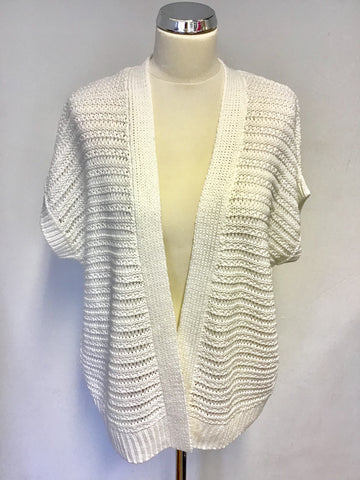 BRAND NEW WHITE COMPANY WHITE OPEN KNIT COTTON CARDIGAN SIZE 12