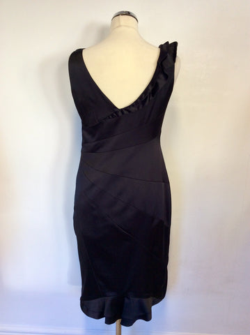 COAST BLACK MATT SATIN FRILL TRIM PENCIL DRESS SIZE 12