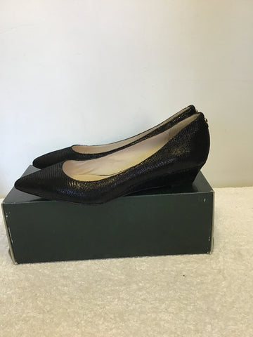 BRAND NEW MODA IN PELLE BLACK SHIMMER LOW WEDGE HEELS SIZE 4/37
