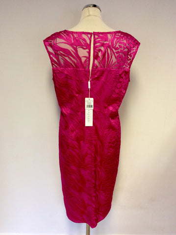 BRAND NEW GINA BACCONI FUSHIA PINK EMBROIDERED MESH OVERLAY DRESS SIZE 16