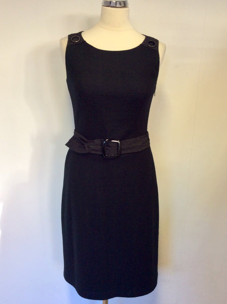 BETTY BARCLAY BLACK WOOL BLEND BELTED DRESS SIZE 10