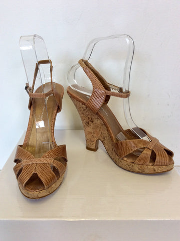 DKNY TAN LEATHER WITH CORK SHAPED WEDGE HEEL SANDALS SIZE 3.5/36