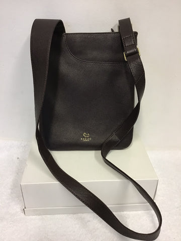 RADLEY DARK BROWN LEATHER MEDIUM ZIP TOP CROSS BODY POCKET BAG