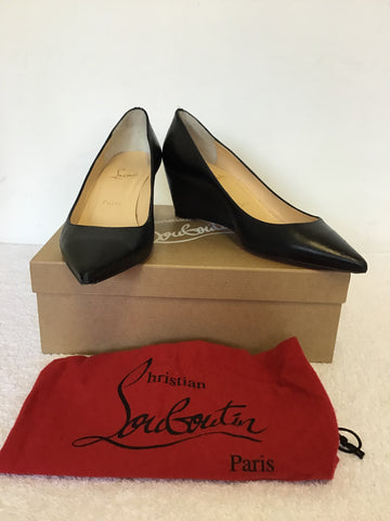 CHRISTIAN LOUBOUTIN BLACK PIPINA 55 NAPPY SHINY CALF LEATHER WEDGE HEELS SIZE 6/39