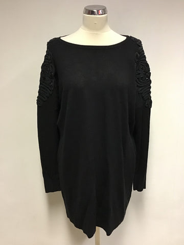 BETTY JACKSON BLACK EMBELISHED SHOULDER LONG JUMPER SIZE 12