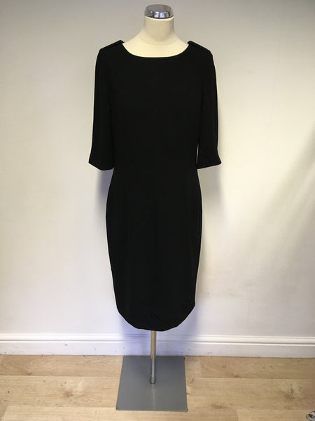 HOBBS BLACK SHORT SLEEVE PENCIL DRESS SIZE 12