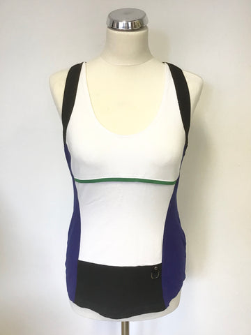 KAREN MILLEN BLUE,BLACK & WHITE COLOUR BLOCK SLEEVELESS VEST TOP SIZE 14