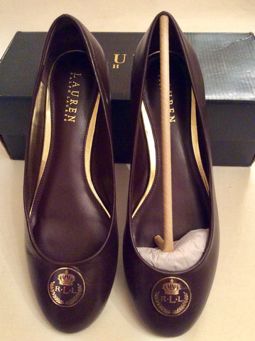 BRAND NEW RALPH LAUREN DARK BROWN LEATHER FLATS SIZE 6.5/40