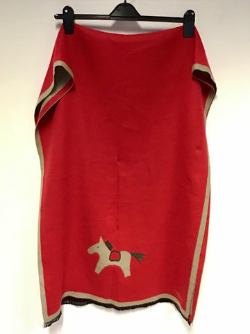 HERMES RED & FAWN REVERSIBLE HORSE DESIGN TRIM WOOL & CASHMERE WRAP/ SCARF