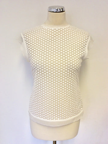 KAREN MILLEN WHITE CROCHET CAP SLEEVE TOP SIZE 10