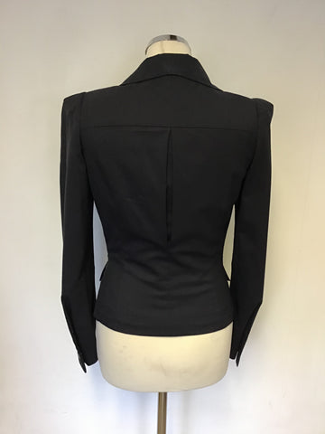 VIVIENNE WESTWOOD NAVY BLUE WOOL PLEATED TRIM FITTED JACKET SIZE 40 UK 8