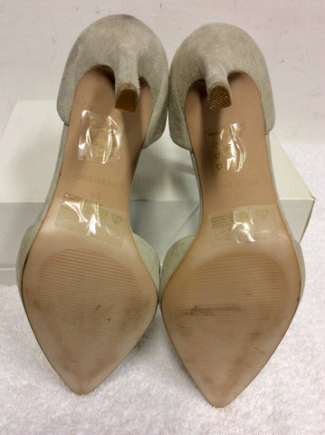 BRAND NEW REISS LIGHT GREY SUEDE & GOLD METAL TRIM ANKLE STRAP HEELS SIZE 5/38