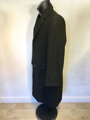 G.A. DUNN & CO DARK GREY CROMBIE CLOTH WOOL COAT SIZE 36R