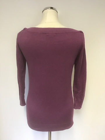 HOBBS ORCHID PINK SILK,COTTON & CASHMERE BLEND 3/4 SLEEVE JUMPER SIZE 12