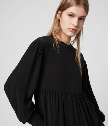 BRAND NEW ALL SAINTS BLACK FAYRE LONG SLEEVE SMOCK TOP SIZE M