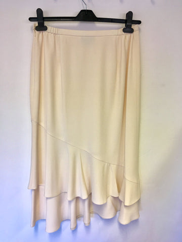 JACQUES VERT CREAM TIERED CALF LENGTH SKIRT SIZE 12