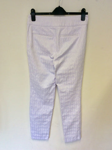 PHASE EIGHT WHITE EMBOSSED & LILAC BACKGROUND CAPRI PANTS SIZE 12