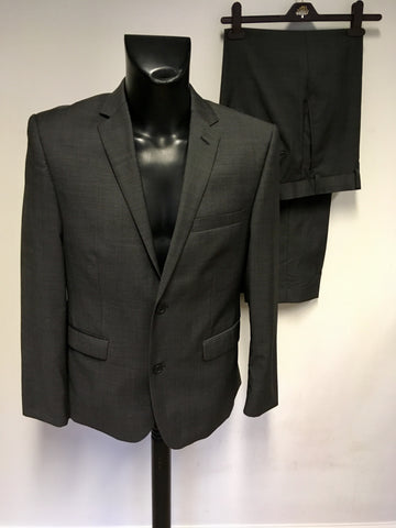 TED BAKER DARK GREY WOOL BLEND SUIT SIZE 40S/ W34S