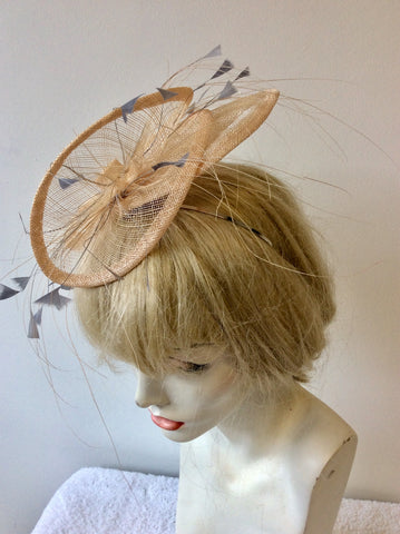 HARE AND THE HAT BESPOKE MILLINARY PALE PEACH & GREY FEATHER TRIM FASCINATOR
