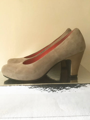 PAS OLE ROUGE MINK BEIGE SUEDE HEEL COURT SHOES SIZE 3/36