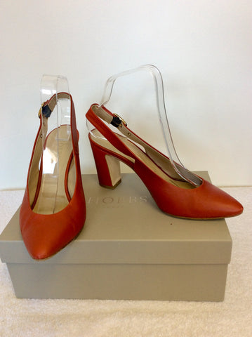 HOBBS NUTMEG LEATHER SLINGBACK HEELS SIZE 5/38