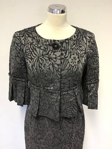 STICKY FINGERS BLACK & SILVER GREY FLORAL PRINT PENCIL DRESS & JACKET SUIT SIZE 12