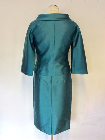 BRAND NEW LK BENNETT KINGFISHER GREEN SILK & WOOL BLEND DRESS & JACKET SUIT SIZE 8