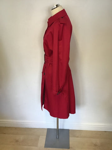 AQUASCUTUM RED KNEE LENGTH BELTED TRENCH COAT SIZE 14 REG