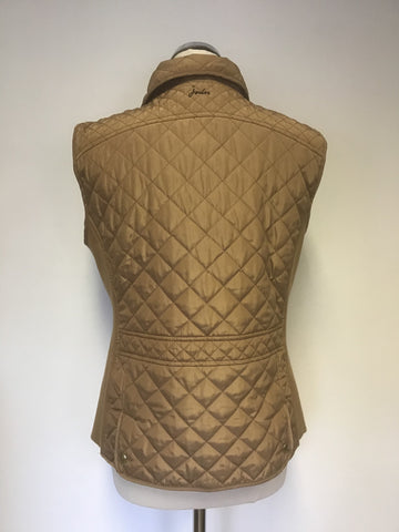 JOULES BRAEMAR CAMEL SLEEVELESS QUILTED GILET / BODY WARMER SIZE 14