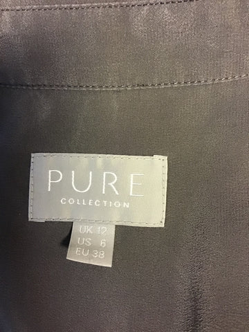 PURE COLLECTION GREY 100% SILK LONG SLEEVE SHIRT SIZE 12