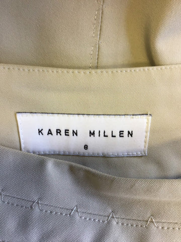 KAREN MILLEN BEIGE PENCIL SKIRT SIZE 8