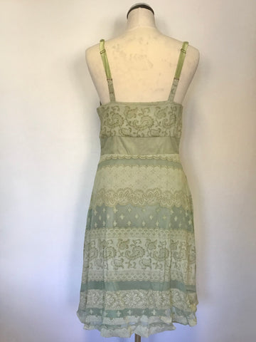 AVOCA ANTHOLOGY LIGHT GREEN PRINT COTTON & SILK PRINT STRAPPY DRESS SIZE 2 UK 12