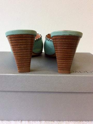 CAPARRINI DUCK EGG ITALIAN ALL LEATHER MULES SIZE 5/38
