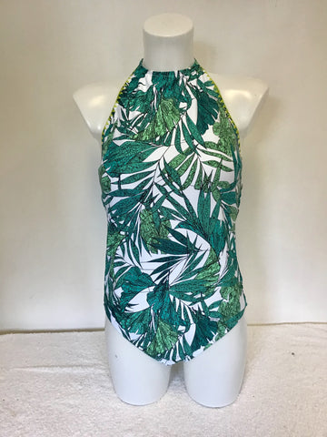 BRAND NEW MARKS & SPENCER GREEN & WHITE SECRET SLIMMING SWIMSUIT SIZE 16