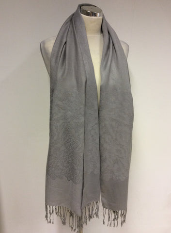 PASHMINA LIGHT GREY EMBOIDERED WRAP/SCARF