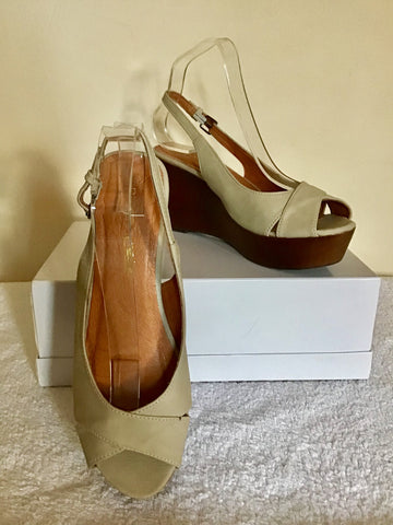 BRAND NEW MODA IN PELLE CREAM LEATHER PEEPTOE SLINGBACK WEDGE HEEL SANDALS SIZE 7/40