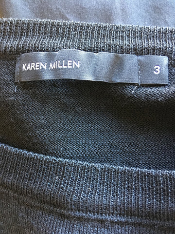 BRAND NEW KAREN MILLEN BLACK & GREY FINE KNIT & SILK BACK JUMPER SIZE 3 UK 14/16